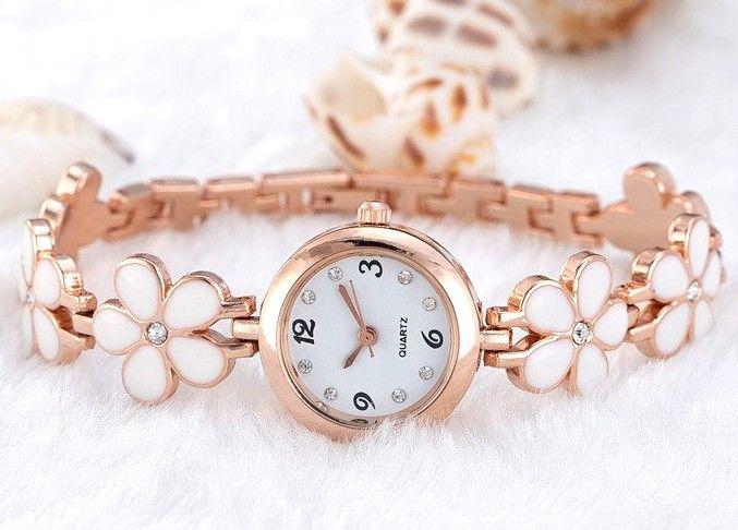 Złoty Zegarek Damski Kwiaty Flower Rose gold EdiBazzar