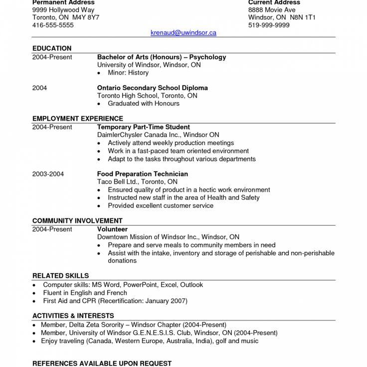 Bachelor Degree Resume Student