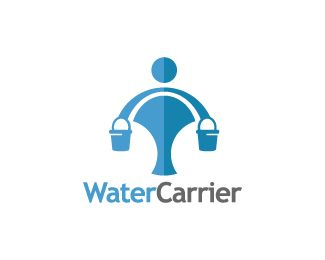 Water Carrier Logo design - Logo design of a person bringing water in buckets on his shoulders.  Price $250.00