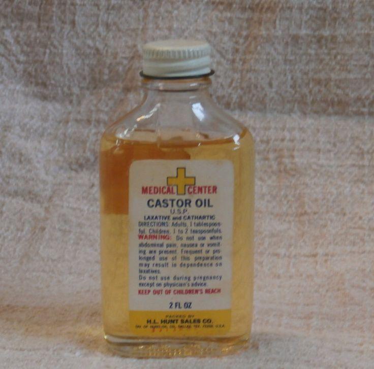 Vintage Castor Oil Bottle, Medical Center H. L. Hunt Sales Co Collectible