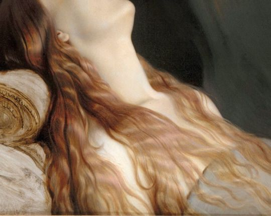 Paul Delaroche | Louise Vernet on Her Deathbed [detail] 1845 | She was his wife and it is said he never recovered from her death