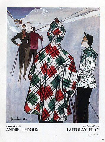 André Ledoux 1948 Winter Fashion Anoraks, Skiing,  Illustrator    Jc. Haramboure: Skifashion
