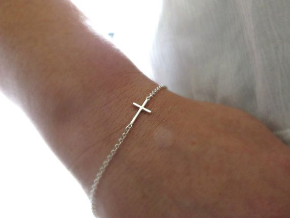 Hey, I found this really awesome Etsy listing at https://www.etsy.com/listing/105829905/silver-sideways-cross-bracelet-silver