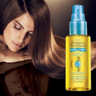 Get all of the benefits of Moroccan Argan Oil without the salon price tag. Our new Advance Techniques 360 Nourish Moroccan Argan Oil Leave-In Treatment helps nourish and smooth dry, damaged hair. It's just $9.99 in Avon's Campaign 19 Brochure (regular price $12.99).