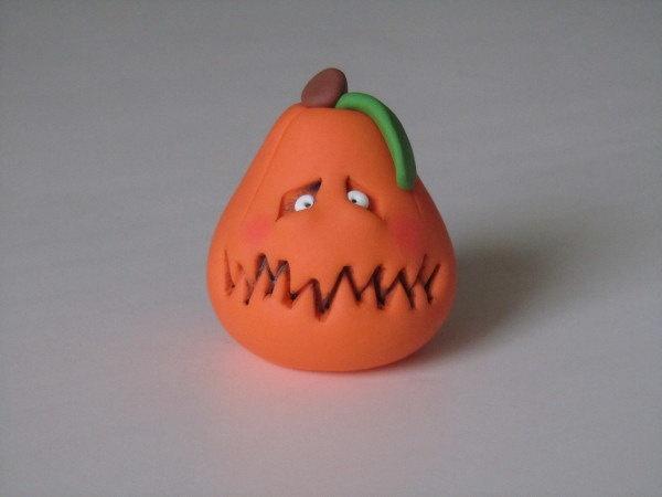 Polymer Clay Halloween Pumpkin Figure by ClayPeeps on Etsy
