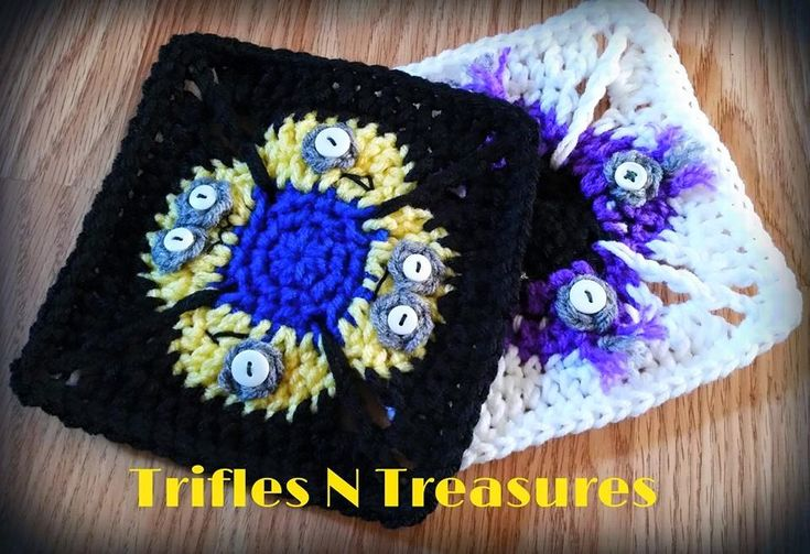 "Minimen 6"" afghan square, free crochet pattern on TriflesNTreasures"
