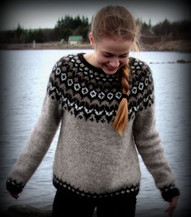 Icelandic Sweater, Lopapeysa, Handmade, 100 % pure Wool, Custom made, Oatmeal, Brown, White, Black,  Warm, Cozy, Knit. $165.00, via Etsy.