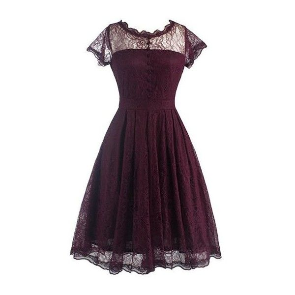 Rotita V Back Cap Sleeve Lace Skater Dress (€26) ❤ liked on Polyvore featuring dresses, short dresses, wine red, purple lace dress, short-sleeve maxi dresses, purple dress, vintage red dress and vintage dresses