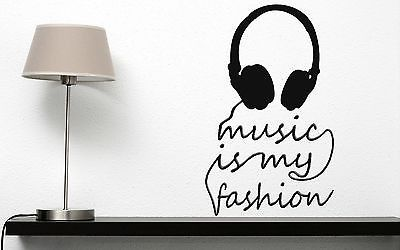 Wall Sticker Vinyl Decal Title Music is My Fashion Headphones (n182)