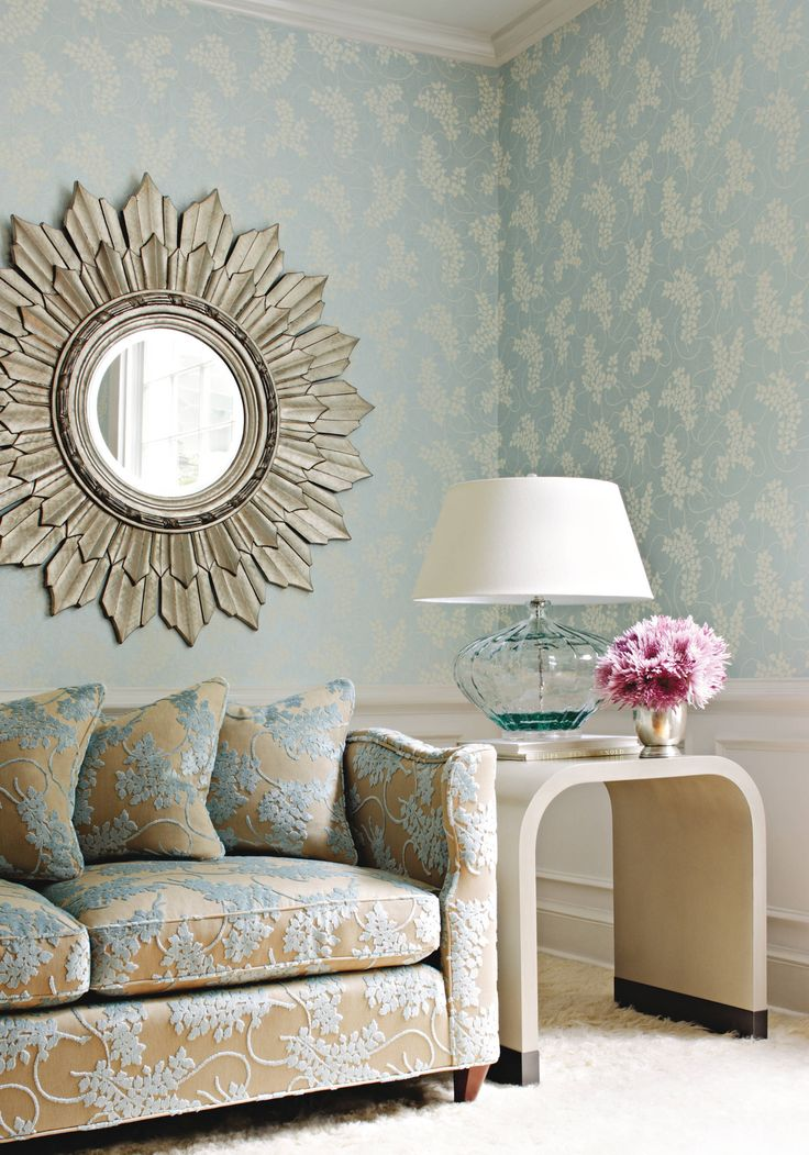 Silver Sunburst On Non Woven Wallpaper With Thibautu0027s Spring Velvet Woven  Fabric In Aqua From Avalon.