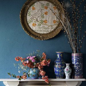 lounge chimney breast by Janice  Issitt  -  blue and flower