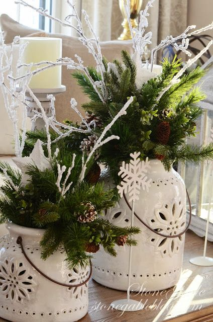 """""""StoneGable with...faux greens and lots of pinecones and """"sticks and twigs"""" I have collected over the years""""...BETTER LATE THAN NEVER… CHRISTMAS EDITION"""