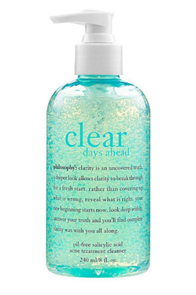 This oil free salicylic cleanser is perfect for acne prone skin, Philosophy Clear Days Ahead Oil-Free Salicylic Acid Acne Treatment Cleanser, $20, sephora.com
