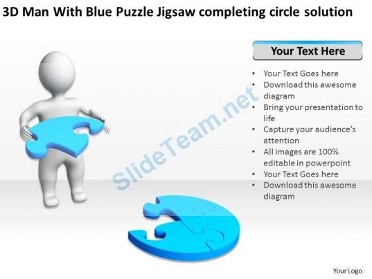 3D man with Blue Puzzle Jigsaw Completing Circle Solution Ppt Graphics Icons #Powerpoint #Templates #Infographics