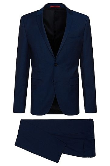 Extra Slim-Fit Anzug aus Schurwolle: 'Adris4/Heibo3' Extra Slim-Fit Anzug aus Schurwolle: 'Adris4/Heibo3', Dunkelblau
