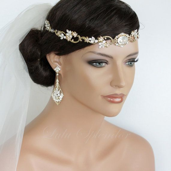 Wedding Hair Accessory Gold Forehead Band Vintage Headband