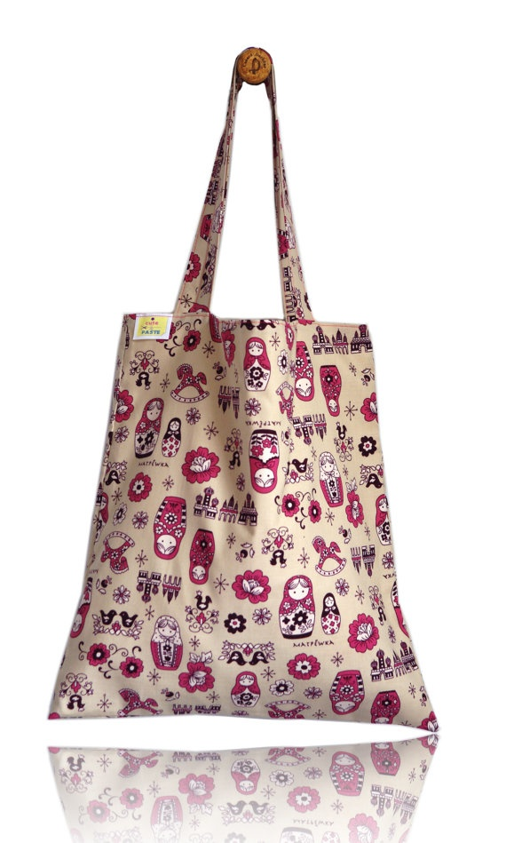Pink Matryoshkas Lined Tote Bag - Handmade in London via Etsy