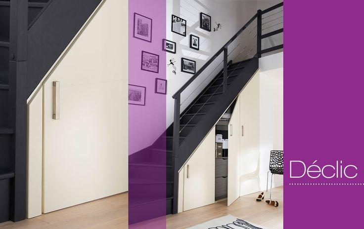 Portes battantes Déclic sur-mesure - Pour aménager le dessous d'un escalier ou créer des placard suivant les rampants sous les combles.
