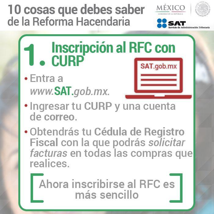 1. Inscripción al RFC con CURP.