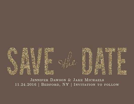 Golden Rings Save-the-Date Cards with Pseudo-bronze background and cream writing