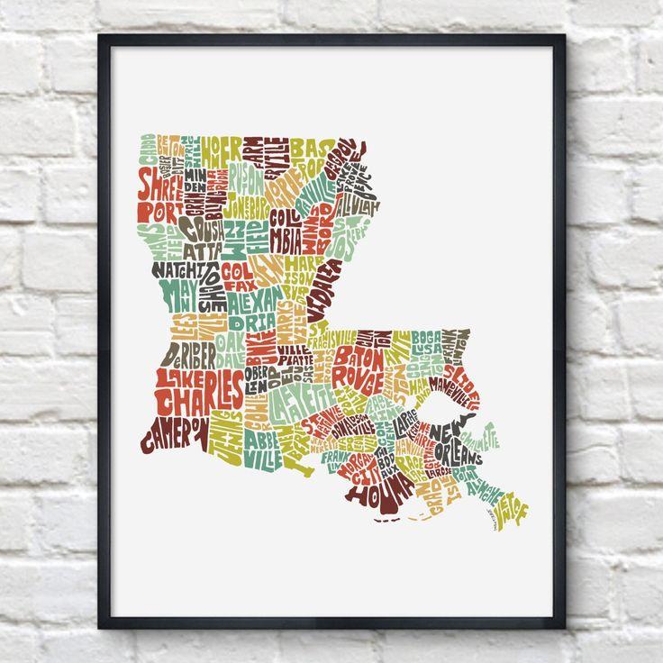 Louisiana Typography Map Print | Joe Brewton | Bourbon & Boots