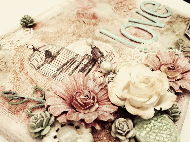 Mixed media shabby chic canvas with mme lost and found blush collection