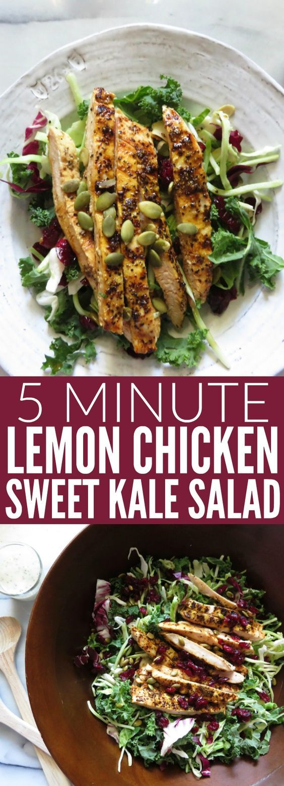 This Grilled Lemon Chicken + Sweet Kale Salad is the perfect easy weeknight meal! Throw it together when you're in a pinch, and you have a flavorful, delicious, gluten free dinner! thetoastedpinenut.com #weeknightmeal #glutenfree #healthy #kale #salad