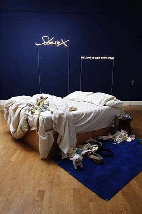 'My Bed' - Tracey Emin (1998) - This work successfully achieved Emins ambitions for her work as it gained a lot of media attention and publicity surrounding the state of her bed on exhibitions and the actual objects included in the piece. The explicitness of this content was in protest to the still very present ideas of beauty within gallery art within this era.