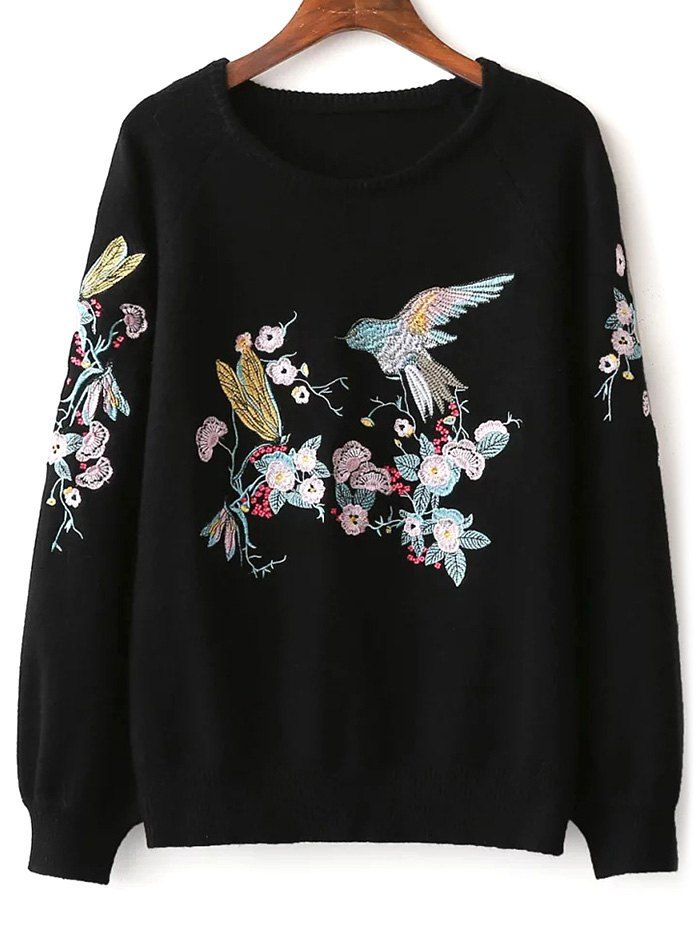Bird Floral Embroidered Sweater