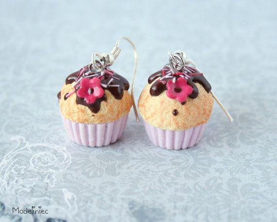 Earrings sweet muffins cupcakes chocolate, pink & vanilla polymer clay handmade
