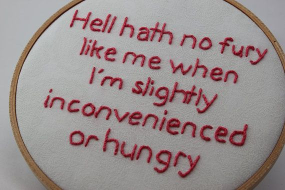 Hell Hath No Fury Quote, Hand Stiched Modern Embroidery Hoop Wall Hanging Decor. Ready to Ship!