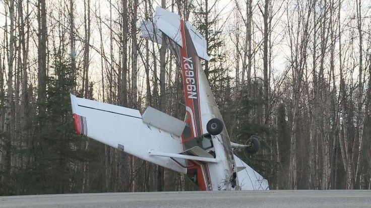 PHOTO Cessna 182E Skylane (N9362X) impacts terrain during a forced landing on a highway in Willow, Alaska. (15-APR-2017). @Ch2KTUU