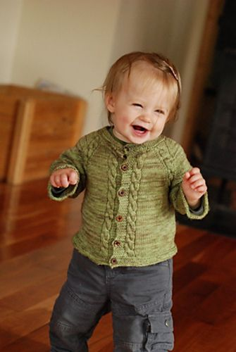 A perfectly soft cashmere baby sweater knit from the top down in one piece. Two options are included: delicate lace for the discerning baby; more rugged cables for the outdoorsy-go getter