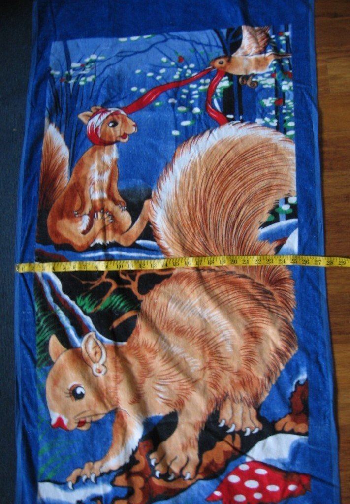 Vintage 90s Funny Beach Towel Animal Beach Towel Squirrels