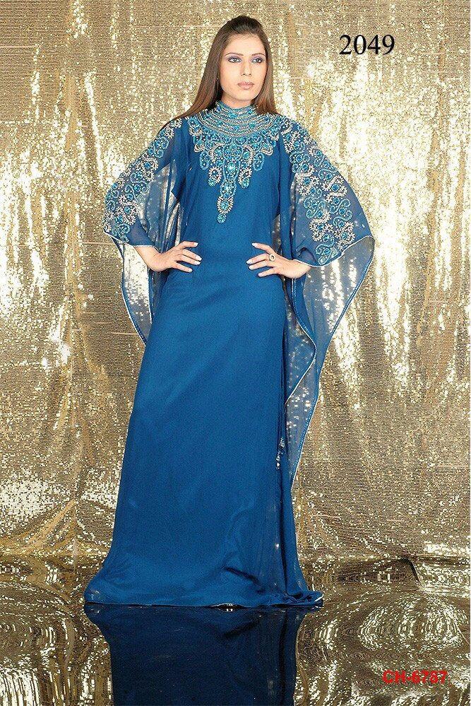 Kant en klare lange blauwe kaftan Indiase jurk Party Wear