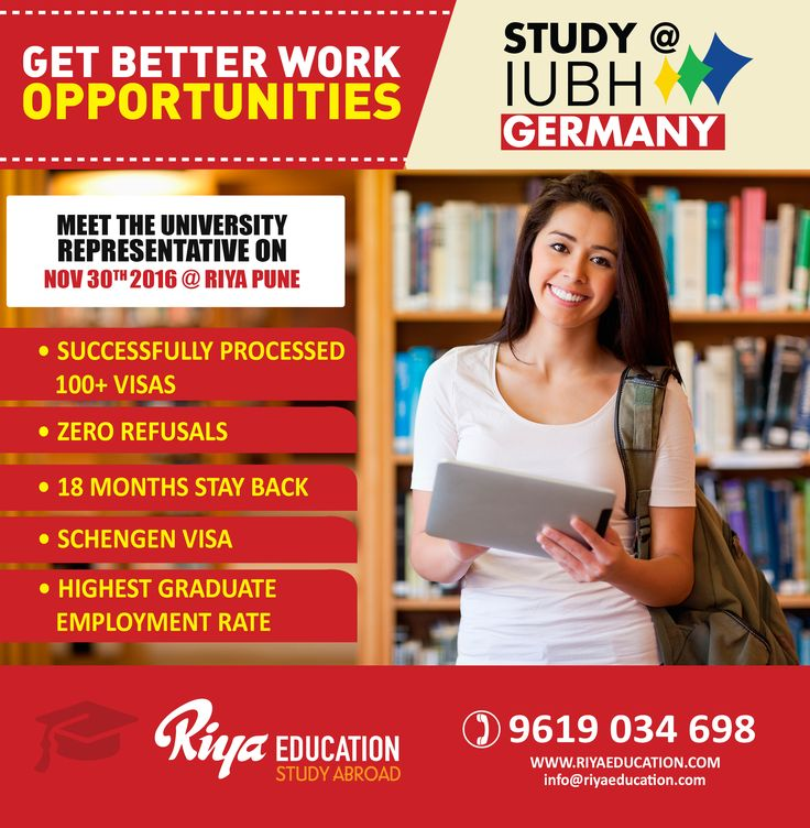 Study @ IUBH, Germany !!! Meet the university representative at Riya, Pune. For more details call or visit our website.