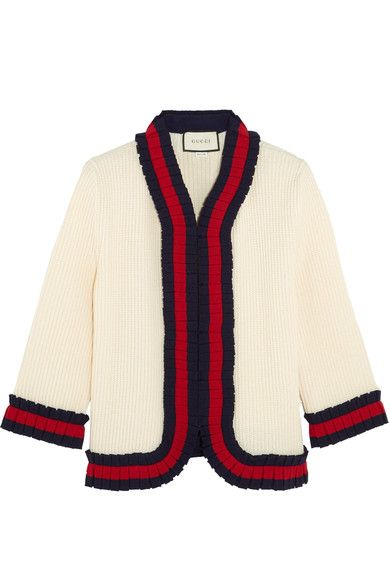 Cream, midnight-blue and red wool  Concealed hook fastenings through front  100% wool Dry clean Made in Italy