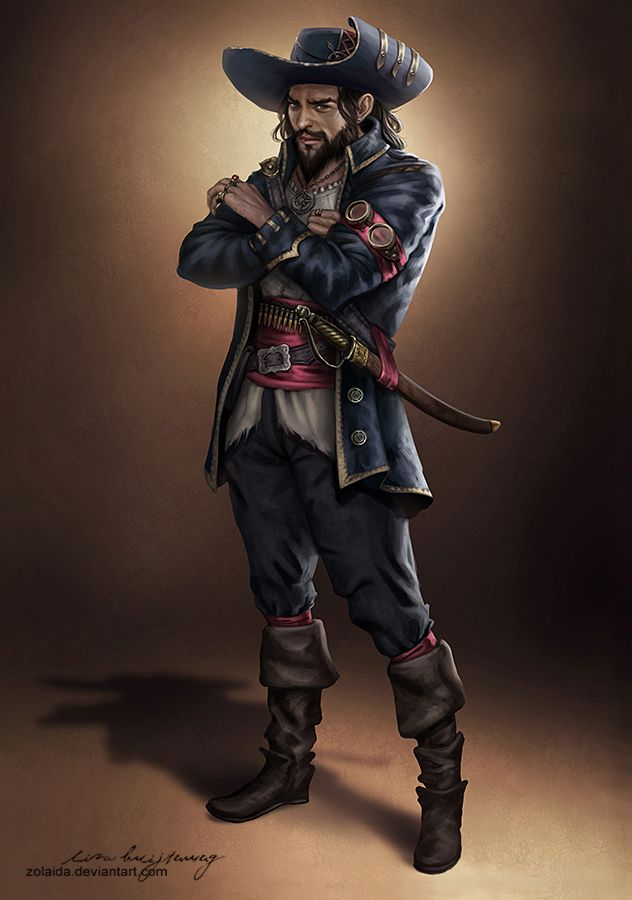 Buccaneer by Zolaida pirate armor clothes clothing fashion player character npc | Create your own roleplaying game material w/ RPG Bard: www.rpgbard.com | Writing inspiration for Dungeons and Dragons DND D&D Pathfinder PFRPG Warhammer 40k Star Wars Shadowrun Call of Cthulhu Lord of the Rings LoTR + d20 fantasy science fiction scifi horror design | Not Trusty Sword art: click artwork for source