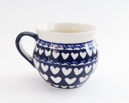 Barrel Mug 0.35l Mug 0.35l #hearts #bunzlau #polishpottery #pottery #ceramics #boleslawiecpottery #boleslawiec