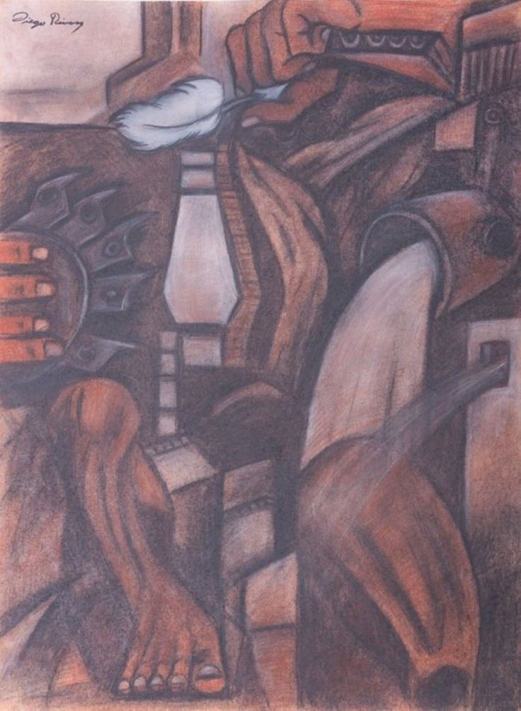 "Diego Rivera ""Mural Study"" Chalk Drawing"