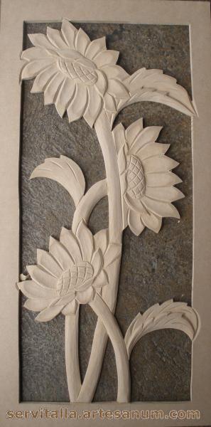 Cuadro girasoles tallado en madera artesanum com