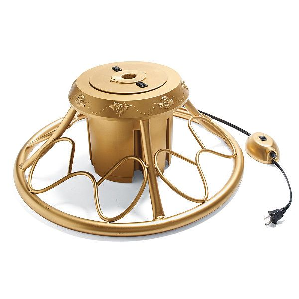 Golden Rotating Tree Stand, $39 at Frontgate.com. I want our tree to rotate!