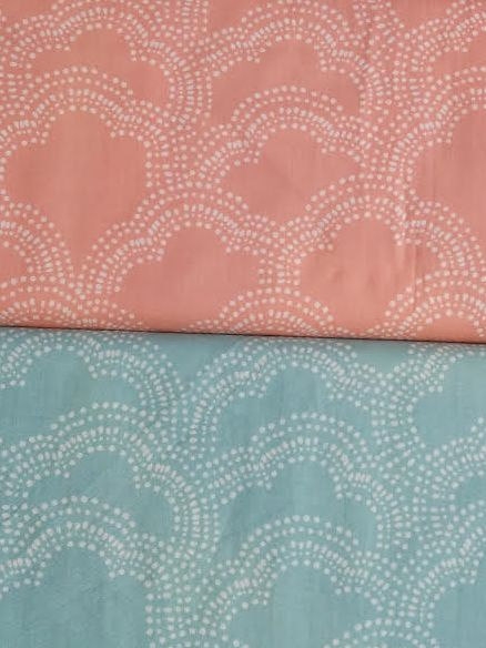 Bamboo and Organic Cotton Burp Cloths - 2 pack - Peach and Aqua Clouds