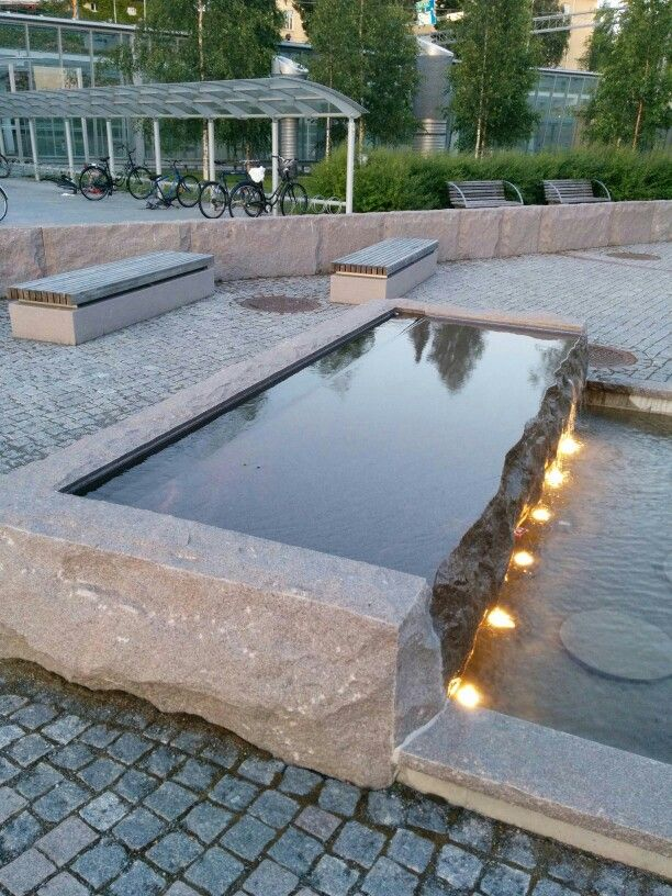 large monolithic stone water feature