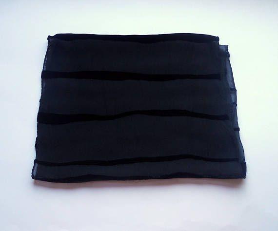 Women accessories Vintage Silk scarf Black Velvet strips