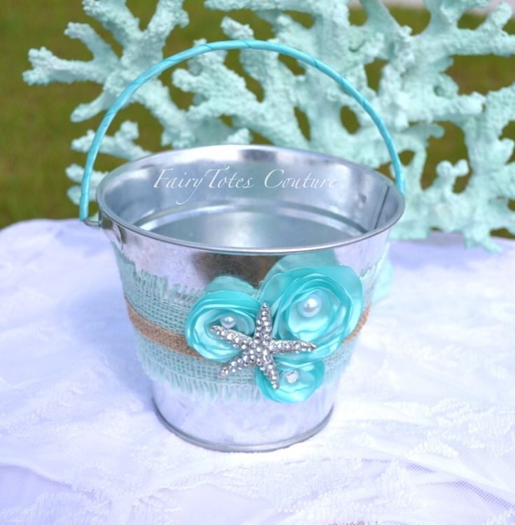 Beach Wedding Flower Girl Bucket - Beach Flower Girl Basket - Found at FairyTotes Couture on Etsy