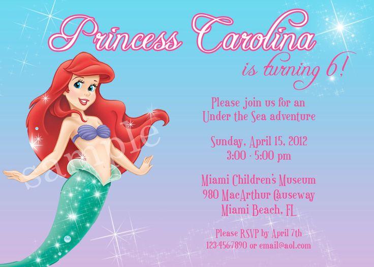 Best Allisons Nd Birthday Images On Pinterest Little - Ariel birthday invitations printable