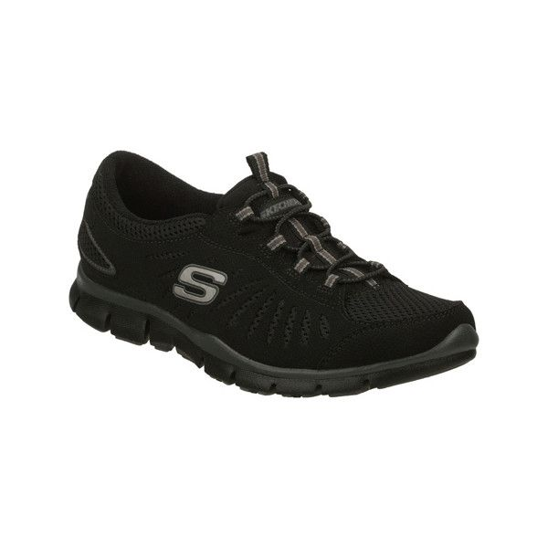 Women's Skechers Gratis Big Idea - Black Casual ($55) ❤ liked on Polyvore featuring shoes, sneakers, black, black sneakers, skechers flats, lace up sneakers, striped flats and grip trainer