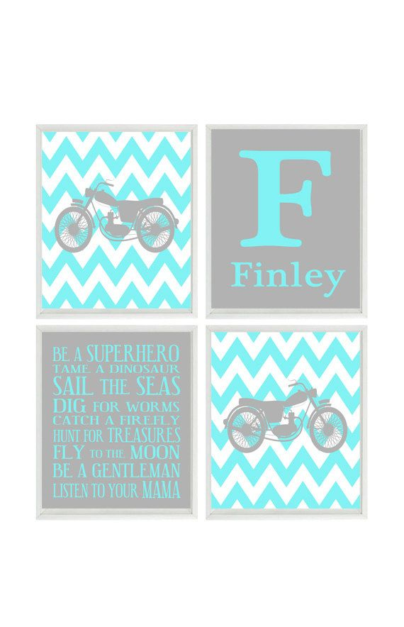 Motorcycle Nursery, Baby Boy Wall Art, Personalized Nursery Art, Aqua Gray, Chevron Print, Boy Room Decor, Toddler Bedroom, Motorbike