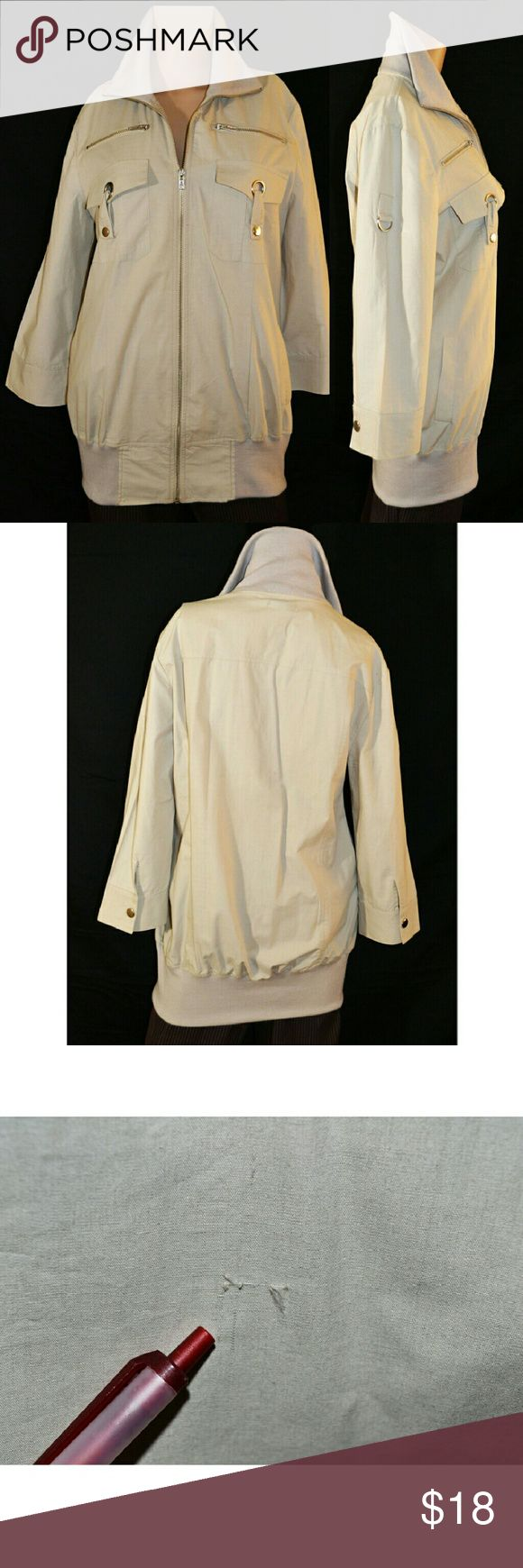 Rhapsody women's beige zip up light jacket. New with tag beige long jacket. One tear on the back side of jacket. 100% cotton. Measurements: length - 30in, pit-to-pit  - 20.5in, sleeve - 19in. Rhapsody Jackets & Coats Blazers